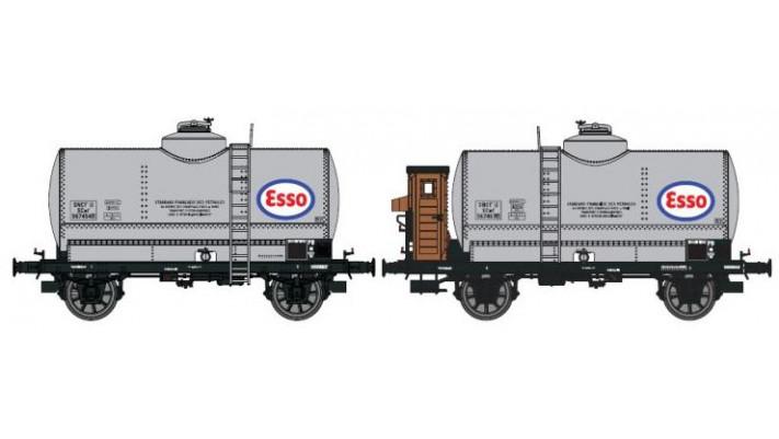SET de 2 Wagons CITERNES rivetées N°567454  ESSO boîtes d'essieux à