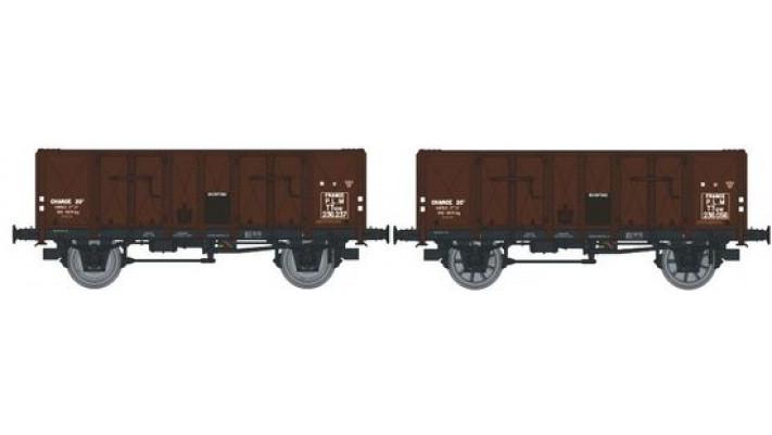 Set de 2 Wagons TOMBEREAU OCEM 29 Ep.II  PLM  Type B Tôlé