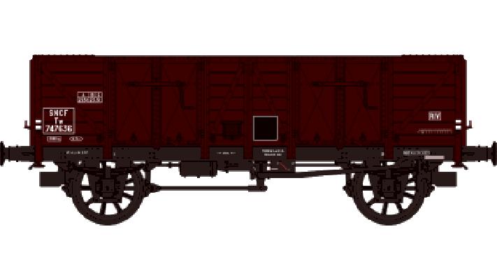 Set de 2 Wagons TOMBEREAU OCEM 29 Ep.III  Type A BOIS et Type B Guérit