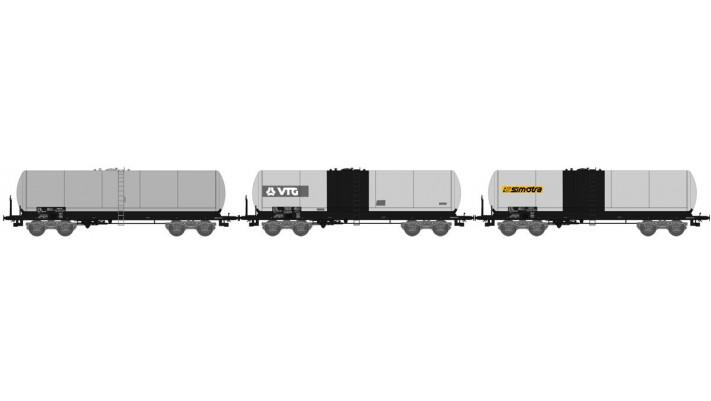 """SET de 3 Wagons CITERNE ANF longues Ep.V """"SIMOTRAVTG"""" bogie Y 25S boît"""