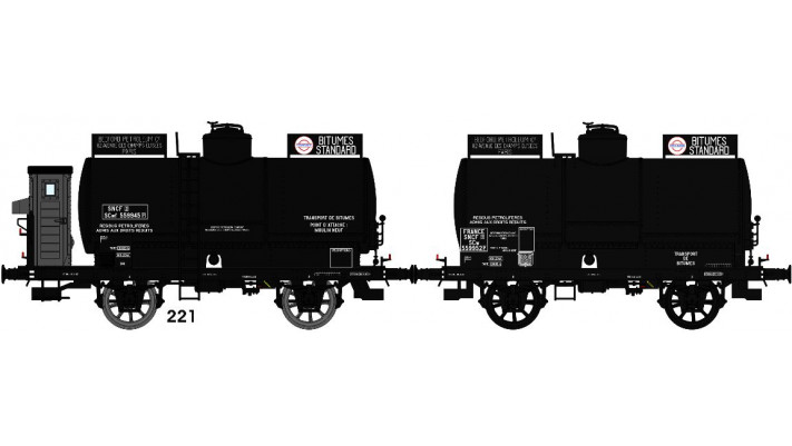 SET de 2 Wagons Citernes OCEM 19 rivetées, boites U1, guériteSerre fre