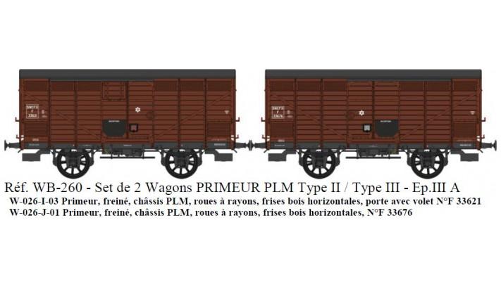 SET de 2 Primeurs SNCF Ep.III A Type I (1905) et Type II (1919) Roues