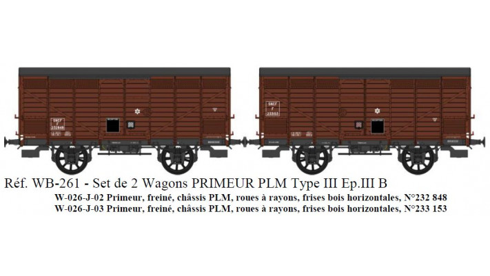 SET de 2 Primeurs SNCF Ep.III B Type III (1919) Roues à rayons  Châssi