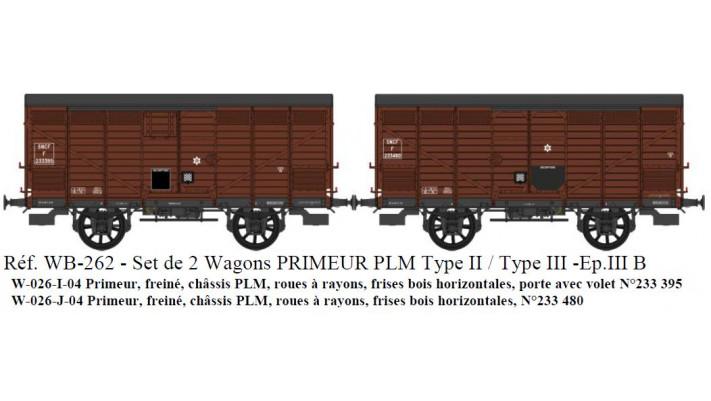SET de 2 Primeurs SNCF Ep.III B Type II (1919) et Type III (1919) Roue