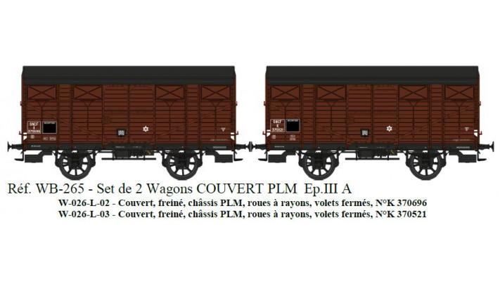 SET de 2 COUVERTS PLM SNCF Ep.III A Roues à rayons  Châssis PLM