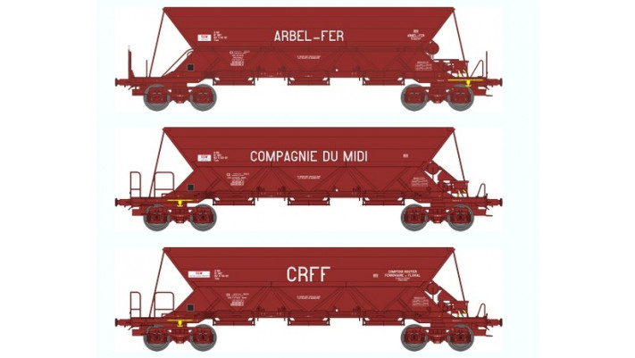 "SET de 3 Wagons TREMIE EX T2 T3 Ep.IV   ""ARBEL-FER"" T2   ""Cie du MIDI"