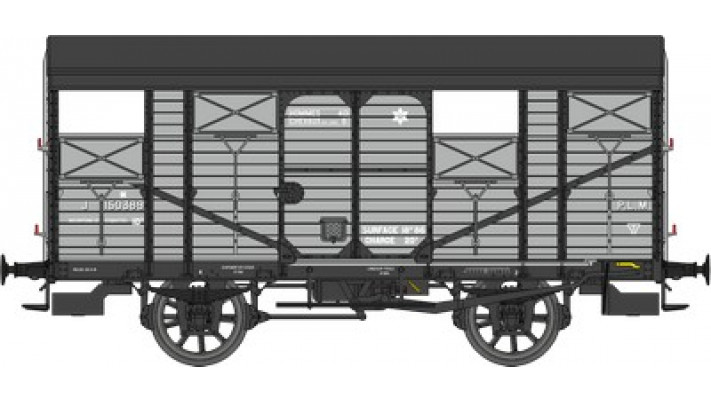 Wagon COUVERT 20T ex-PLM Ep.II Réseau PLM Roues à rayons, volet ouvert