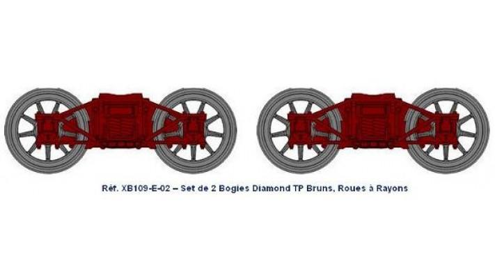 Set de 2 bogies Diamond TP Brun - roues a rayons