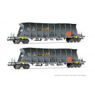 SNCF, 2-unit pack of 4-axle coal hopper wagon EF60  MILLET  with orang