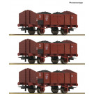 3-tlg. Set: Offene Güterwagen, FS