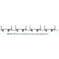 SET de 4 Chariots de Poste en Tubes métal Ep.III-IV Brun PTT