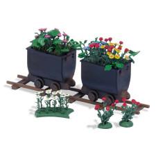 2 wagonnets avec fleurs