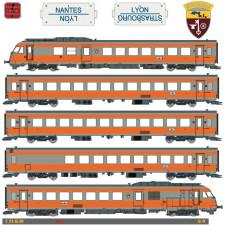 Set 5 Eléménts RTG, Rame N°4, Dépôt de Vénissieux,,SNCF, ep IV, DC / S