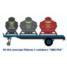 Remorque Plateau 3 containers   SIMOTRA