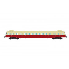 SNCF, diesel railcar class X 2400 with smoke deflectors in beige/red l
