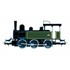 SNCF 030 steam locomotive, green/yellow livery