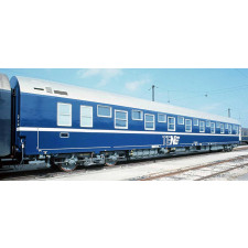 SNCF, sleeping car type T2 in blue/white TEN-livery with silver roof,