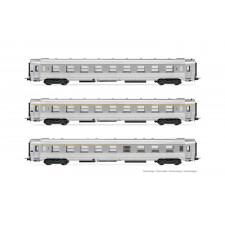 SNCF, set de 3 voitures DEV Inox, composé de 1 x voiture A9, 1 x voitu