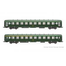 SNCF, set de 2 voitures DEV AO, livrée vert avec portes grises, compos
