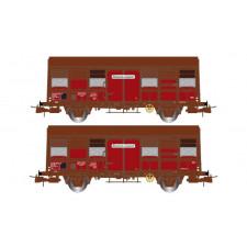 SNCF, coffret de 2 wagons couverts à deux essieux, volets ouverts, Gs