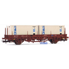 SNCF, 2-axle flat wagon Ks Type, loaded with two 20  container Delmas,