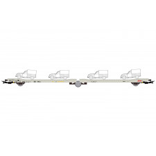 STVA, wagon plate-forme à 3 essieux Ladks, livrée gris, chargé de 4 Ci