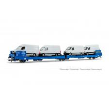 GEFCO, wagon plate-forme à 3 essieux Ladks, livrée bleu, chargé de 4 S