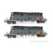 SNCF, set de 2 wagons-trémies à 4 essieux EF60 pour le transport du ch