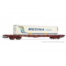 SNCF, wagon porte-conteneur à 4 essieux Sgss avec caisse mobile  Medin