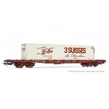 SNCF, wagon porte-conteneur à 4 essieux Sgss avec caisse mobile  3 Sui