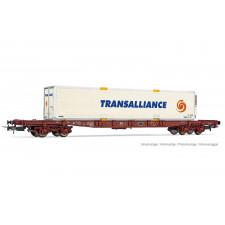 SNCF, wagon porte-conteneur à 4 essieux Sgss avec caisse mobile  Trans