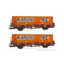 SNCF, set de 2 wagons plate-forme Lgs, avec conteneur  CNC Kargo70 , é
