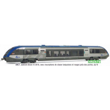 SNCF, X 73802 diesel railcar, with lettering in turquoise/rouge next