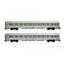 SNCF, set de 2 voitures DEV Inox B9 de 2ème classe avec soufflets en c