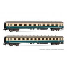DB, set de 2 voitures de 1ère et 2ème classe, livrée bleu/beige, compo