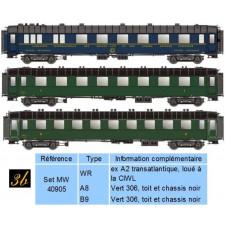 SET DE 3 VOITURES SNCF EP III