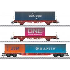 Containerwagen-Set verkehrsrot, DB AG, VI - automne20