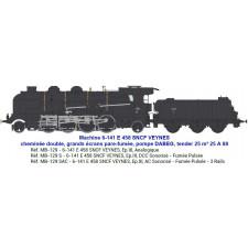 6-141 E 458 SNCF VEYNES, tender 25 m³ 25 A 88 - SOUND & FUMEE 3 Rails