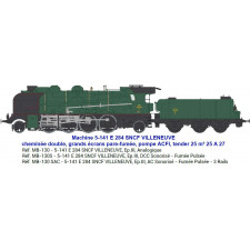 5-141 E 284 SNCF VILLENEUVE, tender 25 m³ 25 A 27 - SOUND & FUMEE 3 Ra