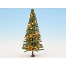 Sapin de Noël illuminé, vert, avec 30 LEDs, 12 cm de haut, 0,H0,TT