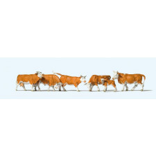 Set de 6 vaches marrons et blanches #