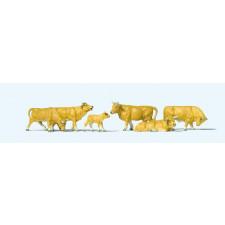 Set de 6 vaches beiges et blanches