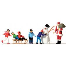 père noël, bonhomme de neige et enfants