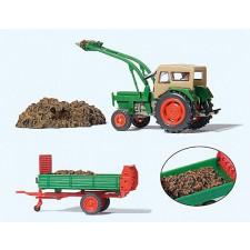 Tracteur de ferme avec fourches #