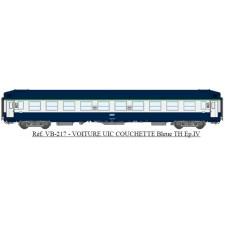 UIC Couchettes TH B9C9x Bleue/Gris béton, logo encadré blanc Ep.IV-V
