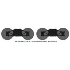 Set de 2 bogies Diamond TP Noir - roues pleines