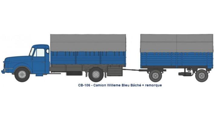 Camion Willeme Bleu Bâché + remorque bâchée