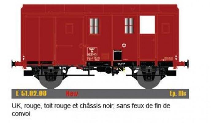 Uk, rouge, toit & chassis noir, sans feu fin de convoi,IIIc,SNCF