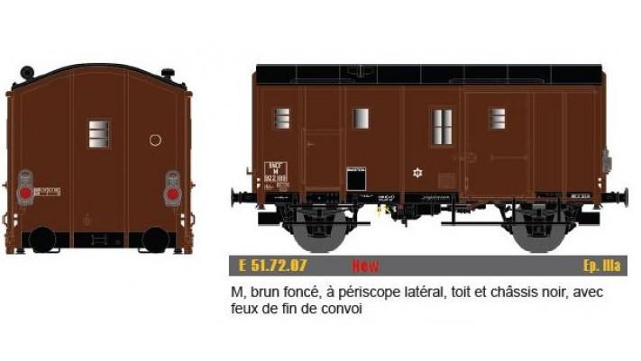 M, brun foncé, à périscope latéral, toit & chassis noir, avec feu fin
