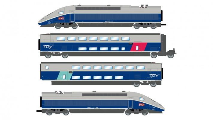 SNCF, TGV 2N2 EuroDuplex, 4-unit pack including motorized head, dummy